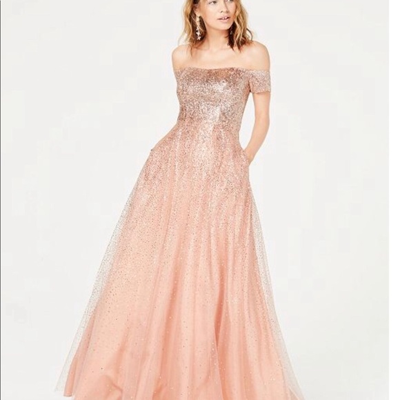 Beautiful Pink/Peach Sparkly Prom Dress Size